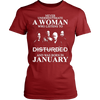 Image of Never Underestimate A Woman Who Listens To Disturbed And Born In January T-shirt - Vietees Shop Online