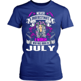 Never Underestimate A Woman Who Was Born In July T-Shirt - Vietees Shop Online
