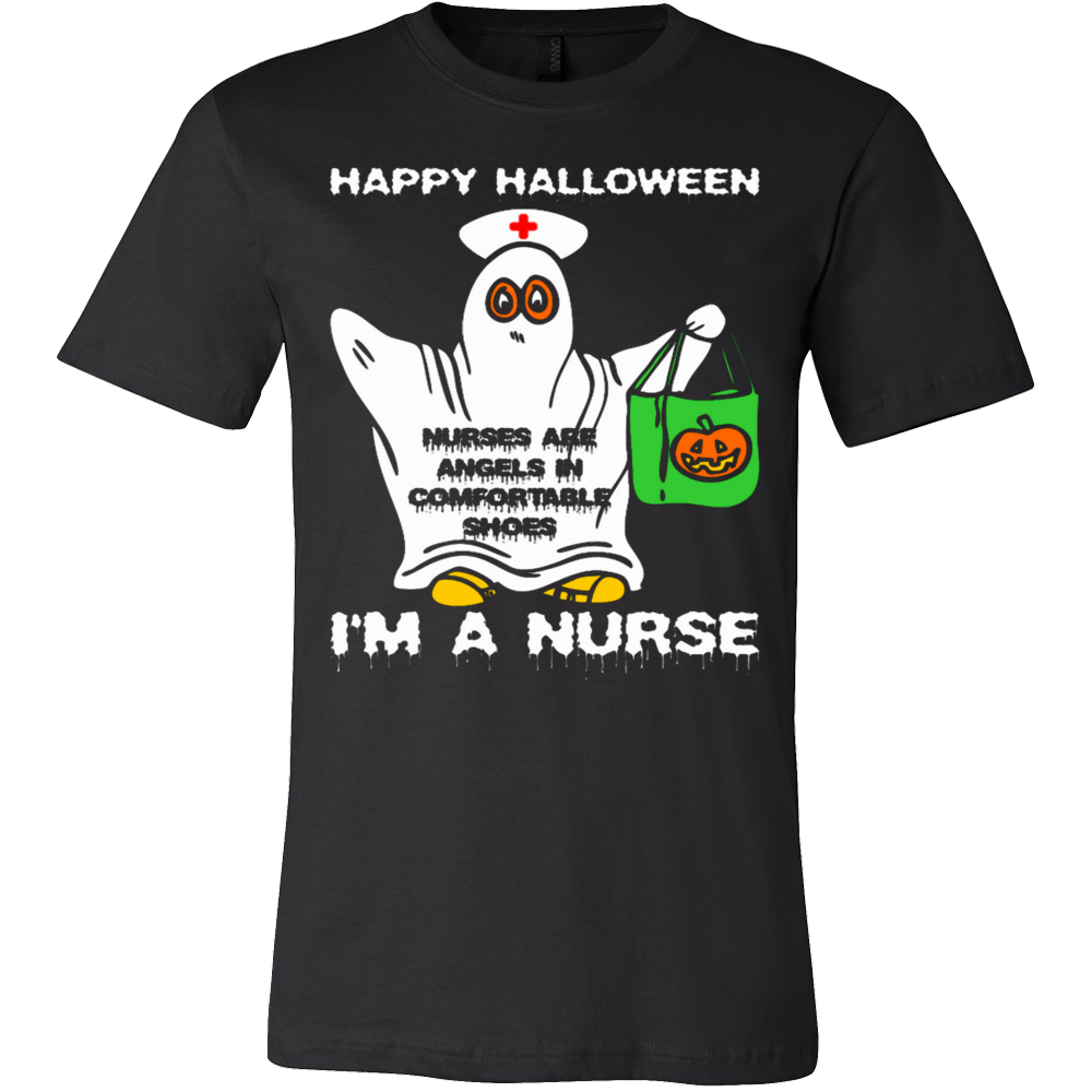 Happy Halloween Nurses Are Angel Comfortable Shoes T-Shirt - Vietees Shop Online