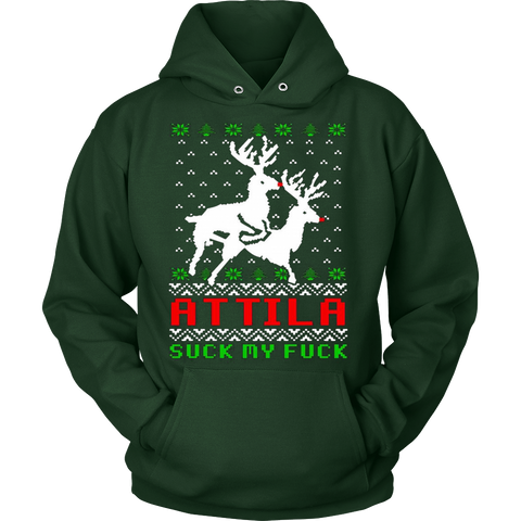 Attila Ugly Christmas Sweater Hoodie - Vietees Shop Online - 1