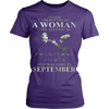 Image of Never Underestimate a Woman who listens to Twenty One Pilots and was born in September T-shirt - Vietees Shop Online
