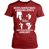 Image of Never Underestimate a Woman who Listens to the Beatles and was born in January T-shirt - Vietees Shop Online