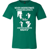 Never Underestimate a Woman who listens to the Beatles and was born in May Canvas T-shirt - Vietees Shop Online