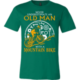 NEVER UNDERESTIMATE AN OLD MAN WITH A MOUNTAIN BIKE T-SHIRT - Vietees Shop Online