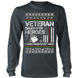 VETERAN DAUGHTER UGLY CHRISTMAS SWEATSHIRT - Vietees Shop Online - 9