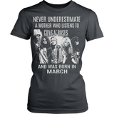 NEVER UNDERESTIMATE A MOTHER WHO LISTENS TO GUNS AND ROSES AND WAS BORN IN MARCH T-SHIRT - Vietees Shop Online