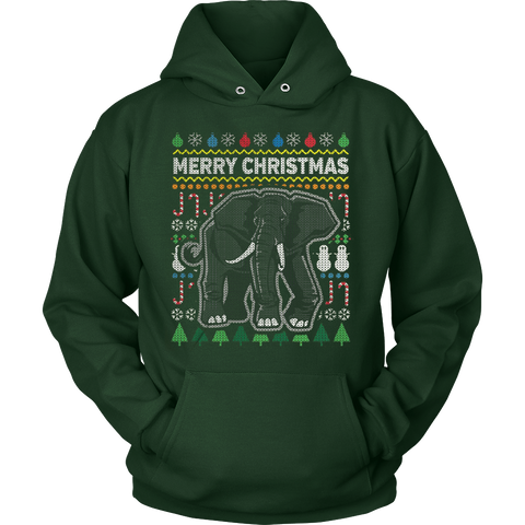 ELEPHANT WILDLIFE UGLY CHRISTMAS SWEATER HOODIE - Vietees Shop Online