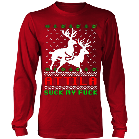 Attila Ugly Christmas Sweater Hoodie - Vietees Shop Online