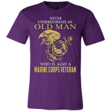 NEVER UNDERESTIMATE AN OLD MAN WHO IS ALSO A MARINE CORPS VETERAN T-SHIRT - Vietees Shop Online