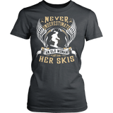 Never Underestimate An Old Woman With Her Skis T-shirt - Vietees Shop Online