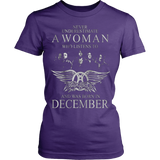Never Underestimate a Woman who listens to Aerosmith and was born in December T-shirt - Vietees Shop Online