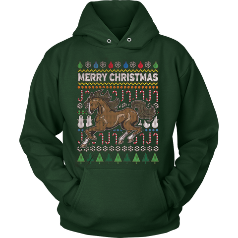 HORSE WILDLIFE UGLY CHRISTMAS SWEATER HOODIE - Vietees Shop Online