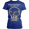 Image of Never Underestimate a Woman who listens to U2 and was born in April T-shirt - Vietees Shop Online