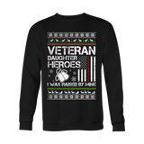 VETERAN DAUGHTER UGLY CHRISTMAS SWEATSHIRT - Vietees Shop Online - 2