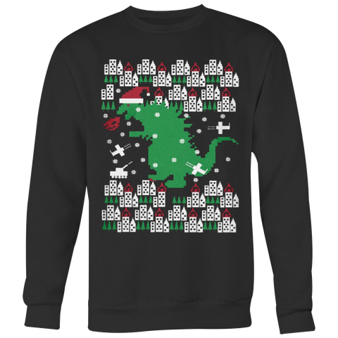 Fiery Dinosaur Ugly Christmas Sweatshirt & Hoodies - Vietees Shop Online