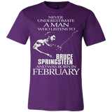 Never Underestimate a Man who listens to Bruce Springsteen and was born in February T-shirt - Vietees Shop Online