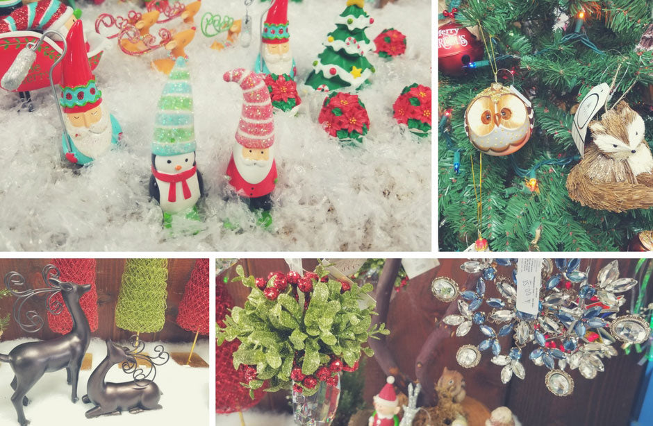 Christmas decor, ornaments, and holiday decorations in a collage