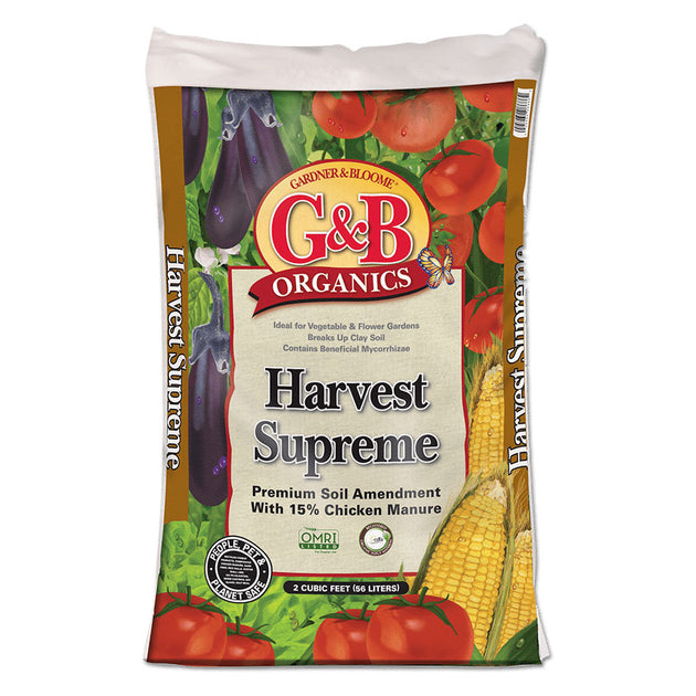 G&B Organics Harvest Supreme soil additive for flower beds and vegetables sold at Bear Valley