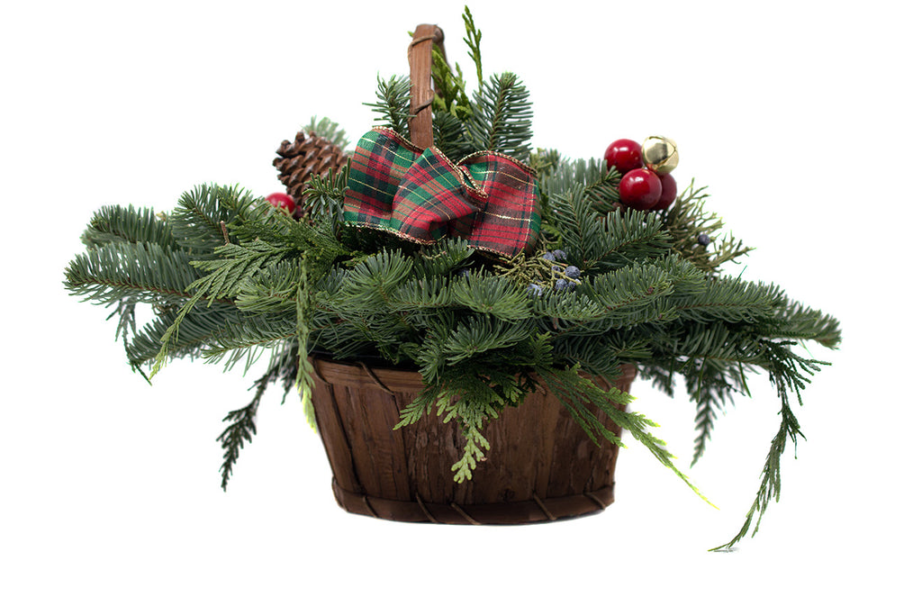 Greenery Basket for Christmas decoration sold at Bear Valley Nursery in Lincoln City, Oregon