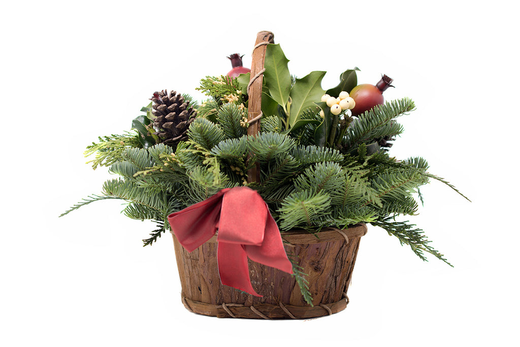 Greenery Basket with berries for Christmas decoration sold at Bear Valley Nursery in Lincoln City, Oregon