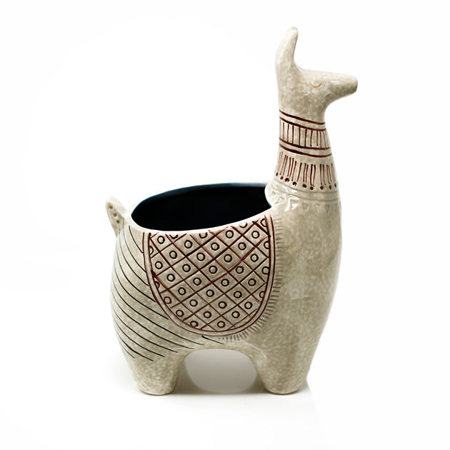Medium sized glazed Llama planter sold at Bear Valley Nursery