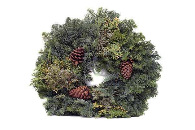 Small sized greenery Christmas Wreath sold at Bear Valley Nursery Located in Lincoln City, Oregon