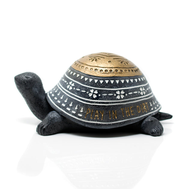 Decorated turtle garden rock sold at Bear Valley Nursery