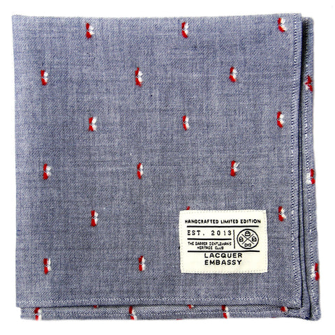 Lacquer Embassy Cruiser Blue Chambray - Men's Pocket Square