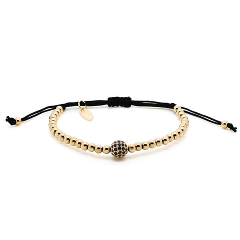 Chevalier CZ Diamonds Bead and Gold - Men's Bracelet