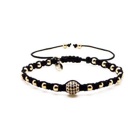 Chevalier CZ Diamonds Bead and Gold Macrame - Men's Bracelet