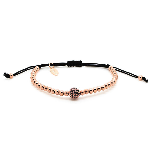 Chevalier CZ Diamonds Bead and Rose Gold - Men's Bracelet