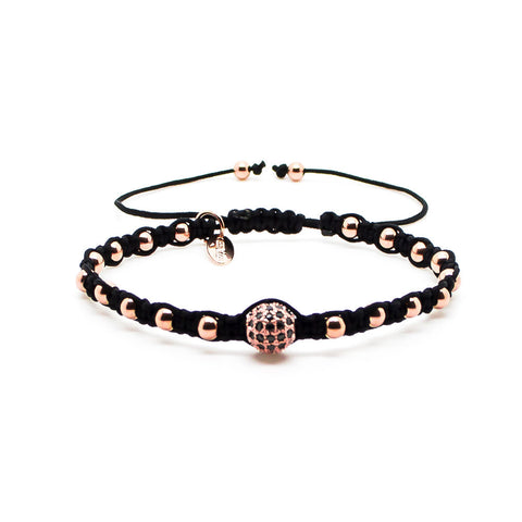 Chevalier CZ Diamonds Bead and White Gold Macrame - Men's Bracelet