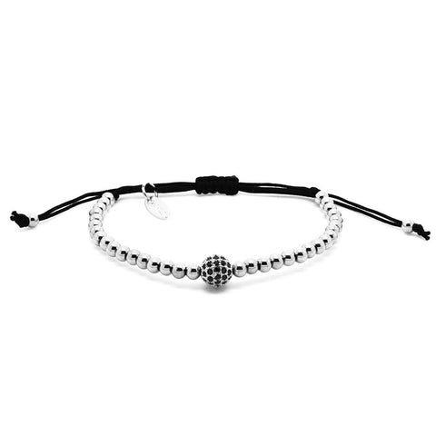 Chevalier CZ Diamonds Bead and White Gold - Men's Bracelet
