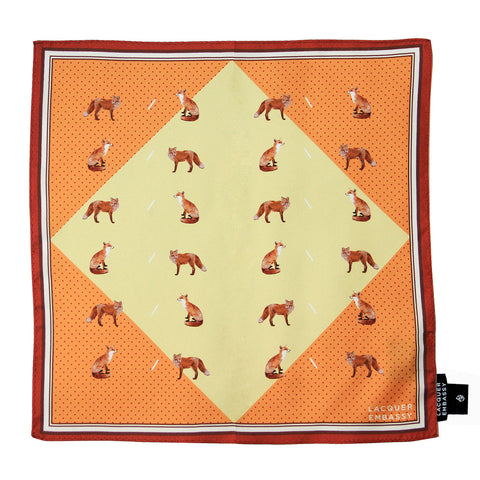 Lacquer Embassy Garden Fox Print - Trendy Pocket Square