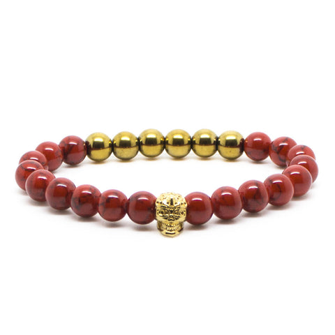 Chevalier Gold Skull In Red - Men's Bracelet - Eloquent District