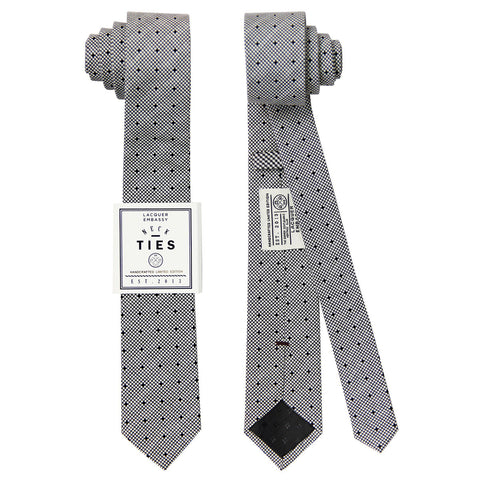 Slim printed monochromatic Lacquer Embassy Silver Lake - Men's Designer Tie