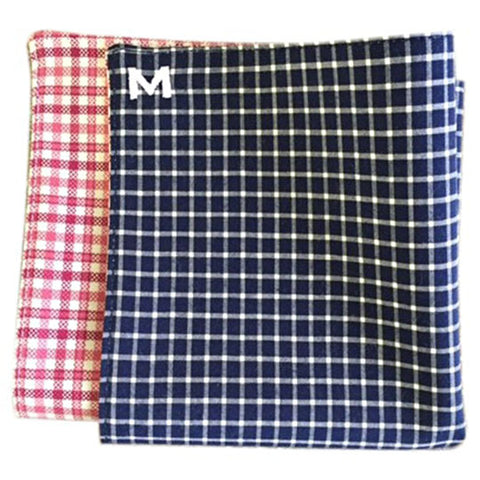 Margo Petitti Navy Blue and White Check - Men's Pocket Square