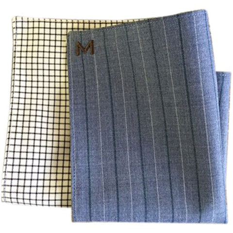 Margo Petitti Blue Pinstripe Lined - Men's Pocket Square