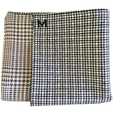 Margo Petitti Tan and Brown Glenplaid - Men's Pocket Square