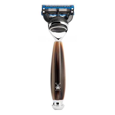 MÜHLE VIVO - Shaving Razor with Gillette® Fusion™ and Resin Horn Brown Handle