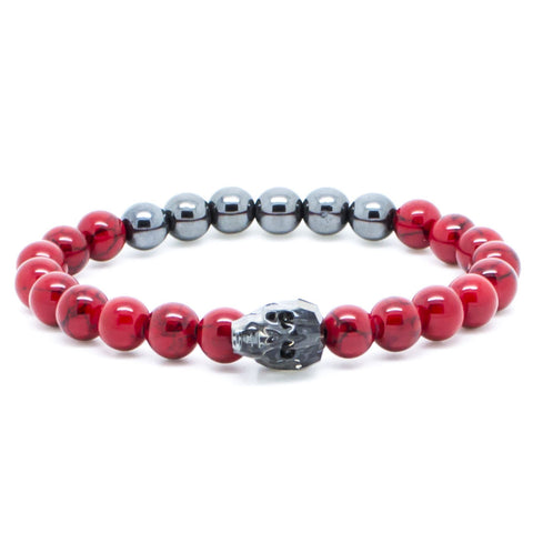 Handmade Chevalier Red Metal Skull - Men's Bracelet - Eloquent District