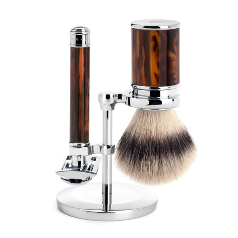 MÜHLE Traditional - Shaving Set with Silvertip Fibre® and Resin Tortoiseshell Handle