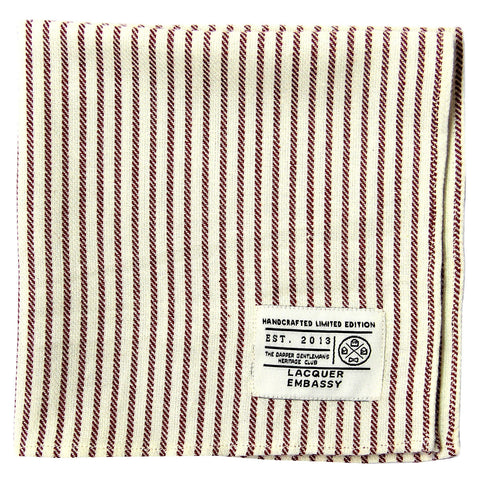 Lacquer Embassy Sailloft Dobby Striped Cotton - Men's Pocket Square