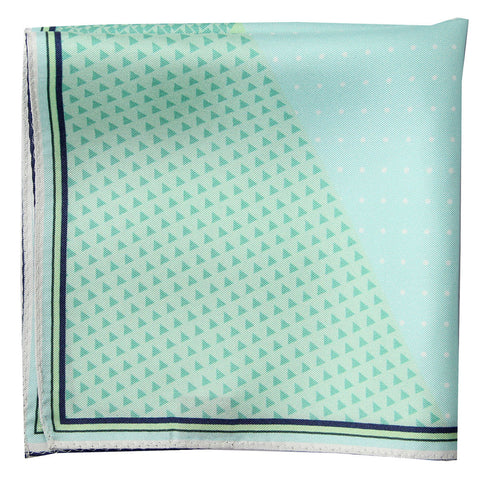 Lacquer Embassy Seafoam Mist Geometrical Pattern - Stylish Pocket Square