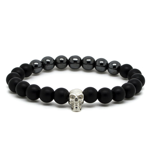 Handcrafted Chevalier Silver Skull In Black - Men's Bracelet - Eloquent District