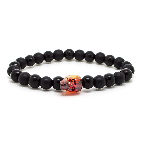 Handcrafted Chevalier Onyx Red Skull - Men's Bracelet - Eloquent District