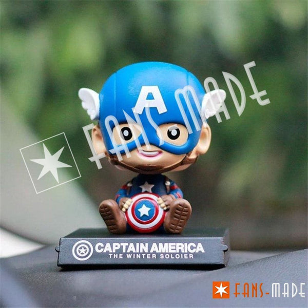 Superhero Head Shaking Car Doll Captain Accessories