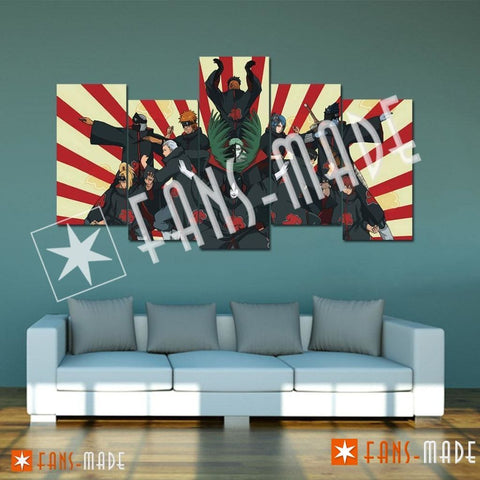Wall Canvas - Akatsuki Assemble Wall Art 5 Piece Canvas