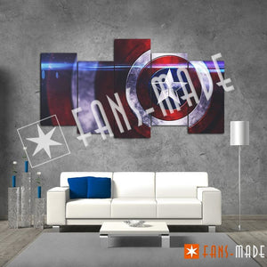 Wall Canvas - Cap's Shield 5 Piece Canvas