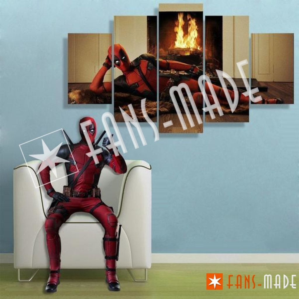 Wall Canvas - Fireplace With Deadpool 5 Piece Canvas